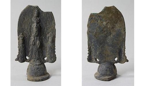 Tượng tam thánh bằng đồng mạ vàng chế tác thế kỷ thứ 6